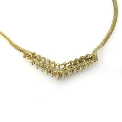 14k Gold Diamond Studded Chevron Necklace Vintage, 1930s to 1980s