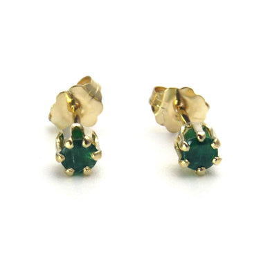 14k Gold Emerald Stud Earrings Vintage, 1930s to 1980s
