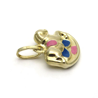 14k Gold Enamel Rocking Horse Puffy Charm Vintage, 1930s to 1980s