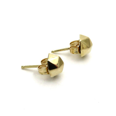 14k Gold Faceted Button Stud Earrings Vintage, 1930s to 1980s