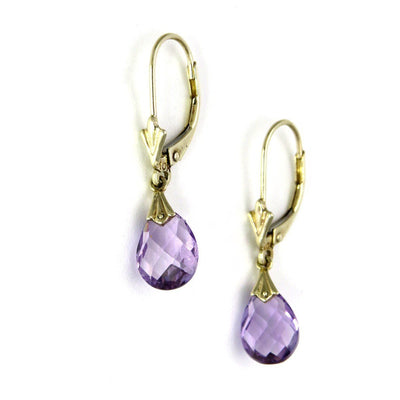 14k Gold Faceted Pear Amethyst Drop Earrings Vintage, 1930s to 1980s