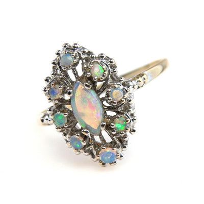14k Gold Filigree Jelly Opal Cluster Ring Vintage, 1930s to 1980s