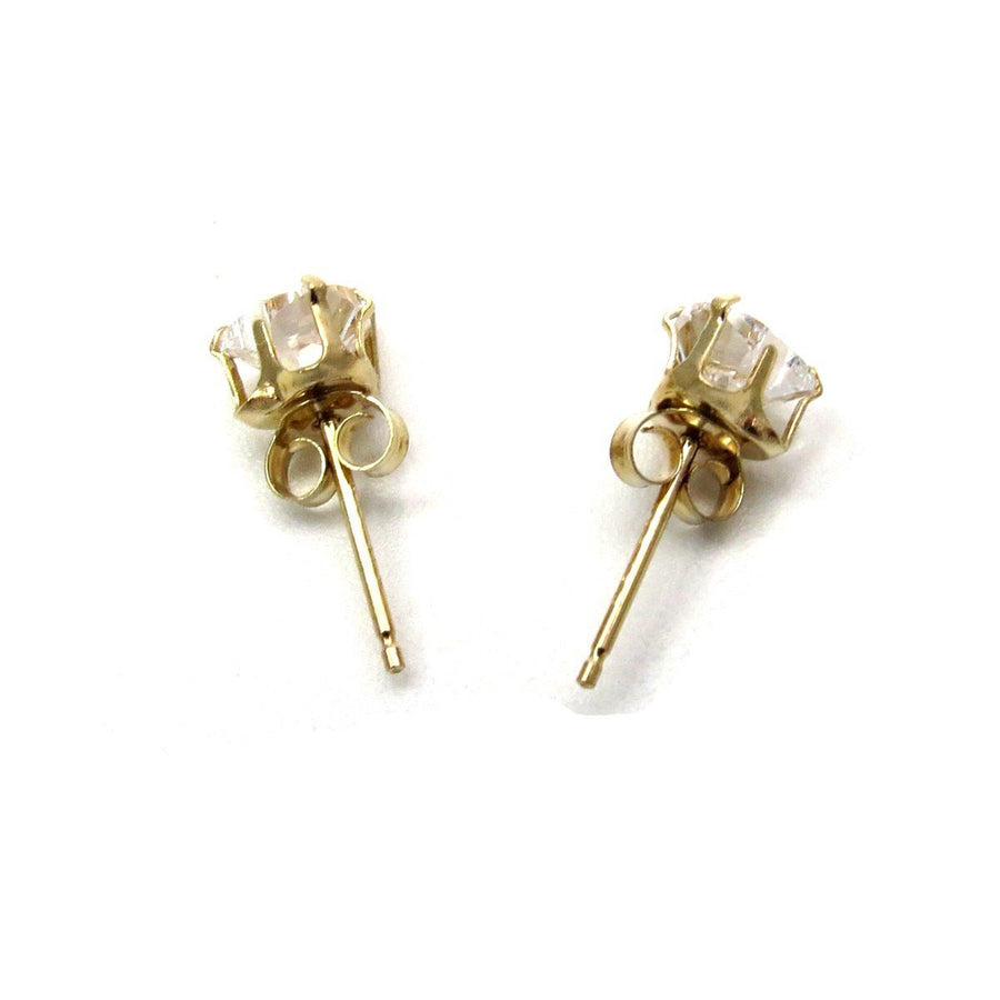 14k Gold Heart Shaped CZ Solitaire Stud Earrings Vintage, 1930s to 1980s