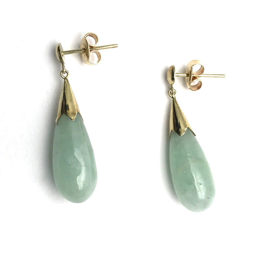 14k Gold Jadeite Jade Drop Earrings Vintage, 1930s to 1980s