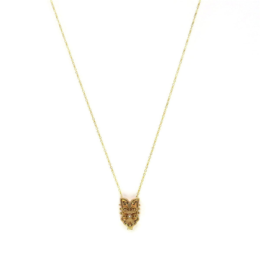 14k Gold Large Victorian Slide Pendant Necklace