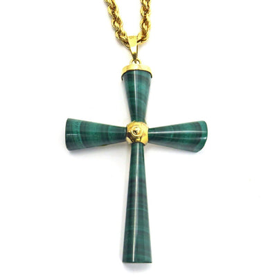 14k Gold Malachite Cross Pendant Necklace Vintage, 1930s to 1980s