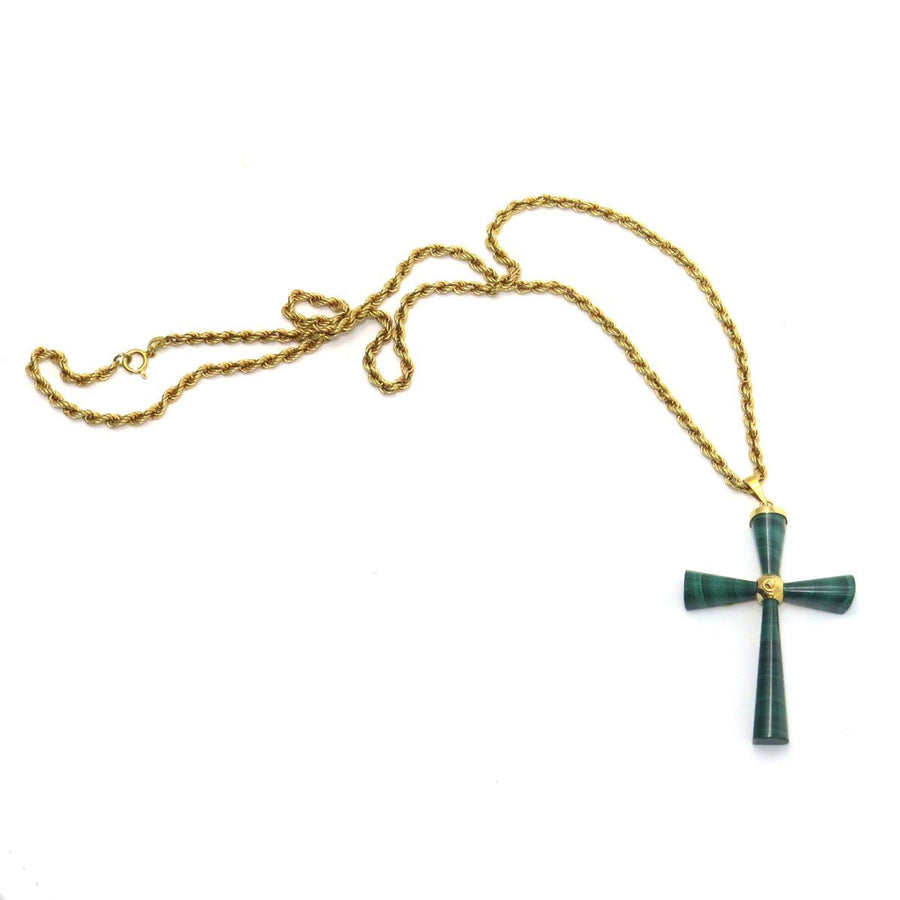 14k Gold Malachite Cross Pendant Necklace