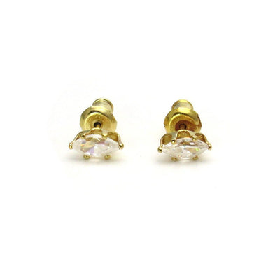 14k Gold Marquise CZ Solitaire Stud Earrings Vintage, 1930s to 1980s