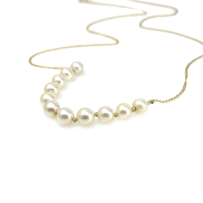 14k Gold Minimalist Pearl Center Necklace Vintage, 1930s to 1980s