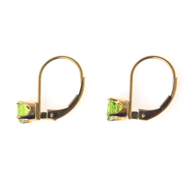 14k Gold Natural Peridot Lever Back Earrings Contemporary, Post 1990