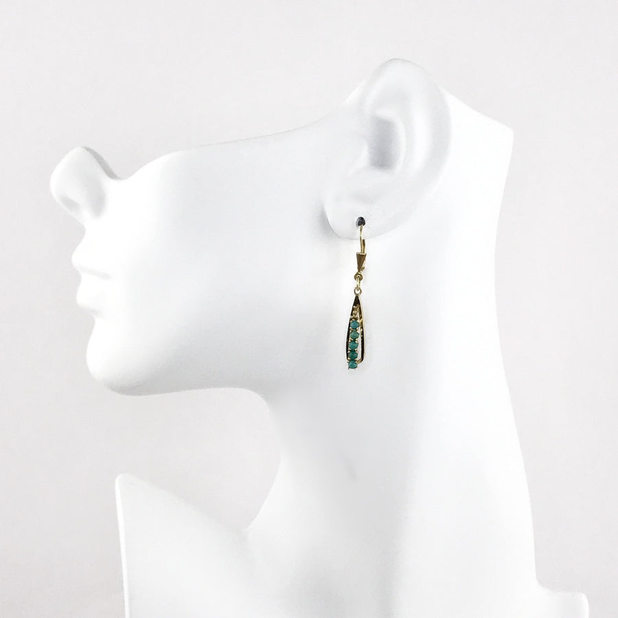 14k Gold Natural Turquoise Drop Earrings