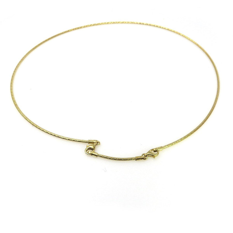 14k Gold Textured Cable Necklace Contemporary, Post 1990