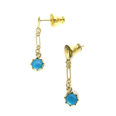 14k Gold Turquoise Drop Earrings Vintage, 1930s to 1980s