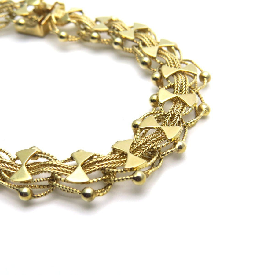 14k Gold Woven Fancy Links Bracelet Vintage, 1930s to 1980s