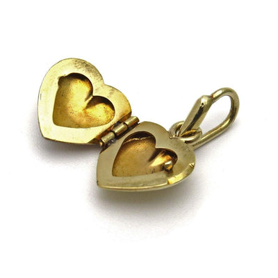 14k Rose White and Yellow Gold Puffy Heart Locket Pendant Vintage, 1930s to 1980s