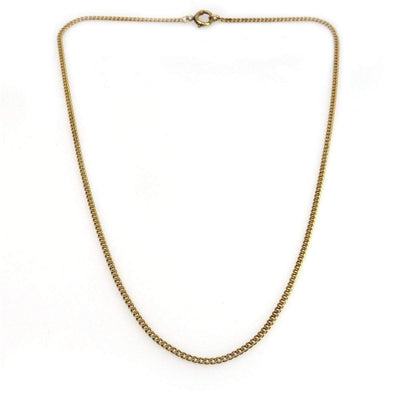 14k Rose-y Gold Curb Chain Choker Necklace Vintage, 1930s to 1980s