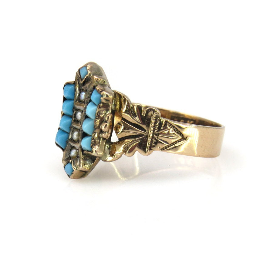 14k Rose-y Gold Turquoise Victorian Ring Victorian, 1830s to 1900s