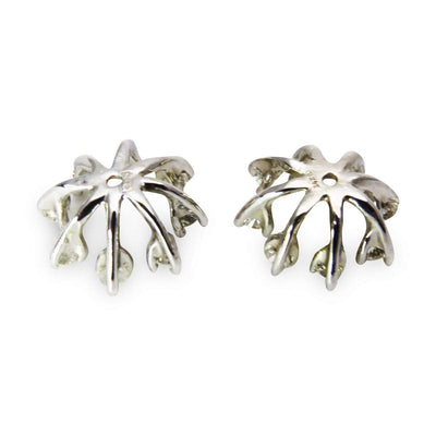14k White Gold Diamonds Starburst Earring Jackets Vintage, 1930s to 1980s