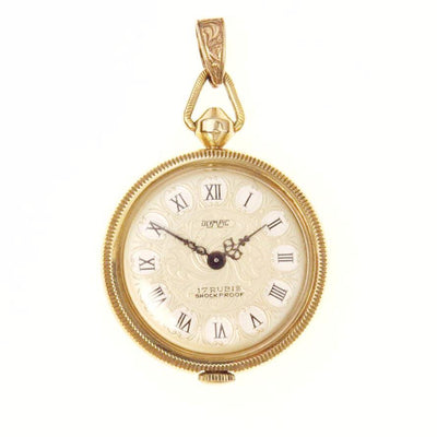 17 Jewels Victorian Revival Gold Pendant Watch Vintage, 1930s to 1980s