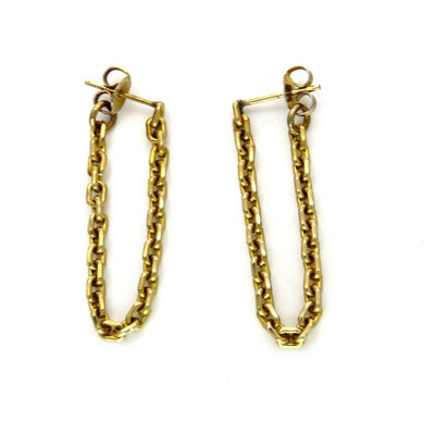 18k Gold Chain Wrap Drop Earrings Vintage, 1930s to 1980s