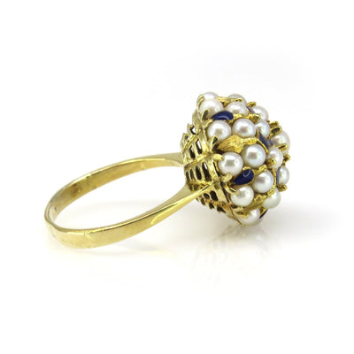 18k Gold Pearl Basket Ring Vintage, 1930s to 1980s