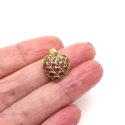 18k Gold Ruby Sapphire Double Sided Puffy Heart Charm Vintage, 1930s to 1980s