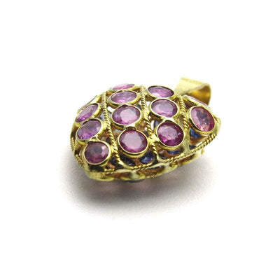 18k Gold Ruby Sapphire Puffy Heart Charm or Pendant Vintage, 1930s to 1980s