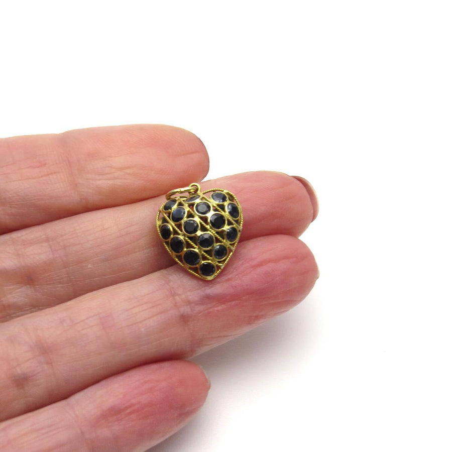 18k Gold Sapphire Double Sided Puffy Heart Charm Vintage, 1930s to 1980s