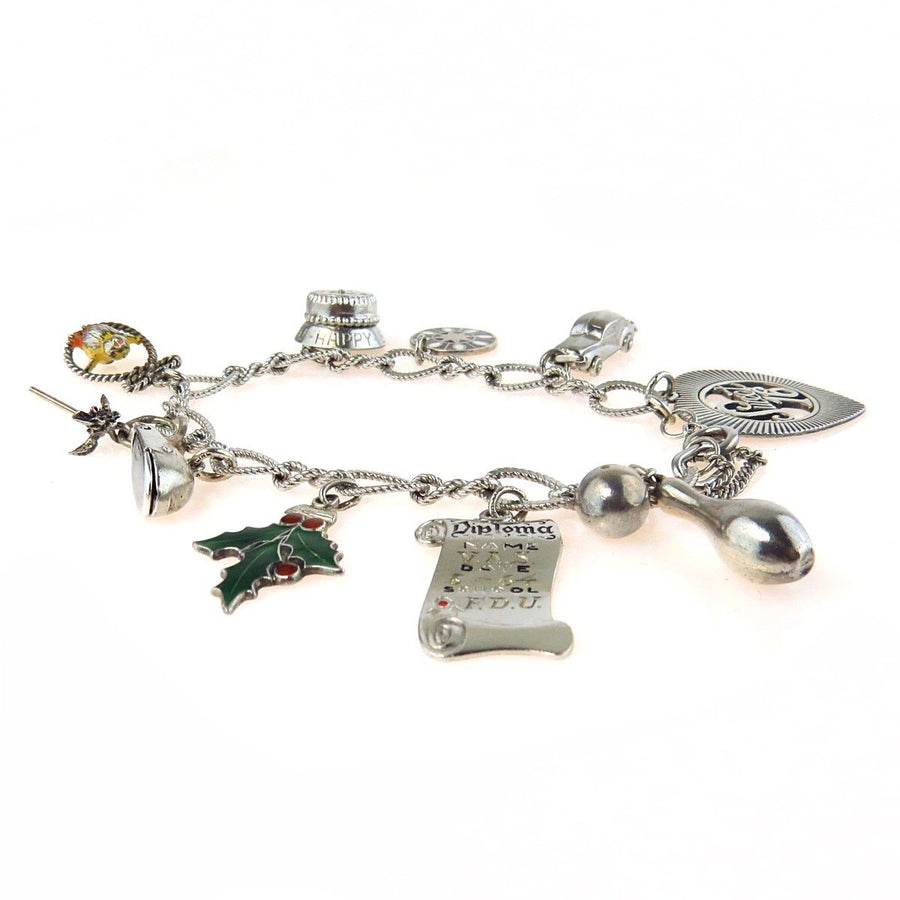 1960s Sterling Silver Charm Bracelet Vintage, 1930s to 1980s