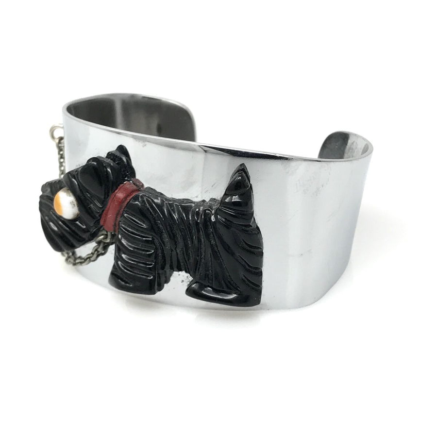 Albert Flamand Galalith Terrier Dog Chrome Cuff Bracelet Art Deco, 1920s to 1930s