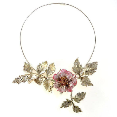 Amazing Hand Sculpted Flower Fine Silver PMC Necklace Contemporary, Post 1990