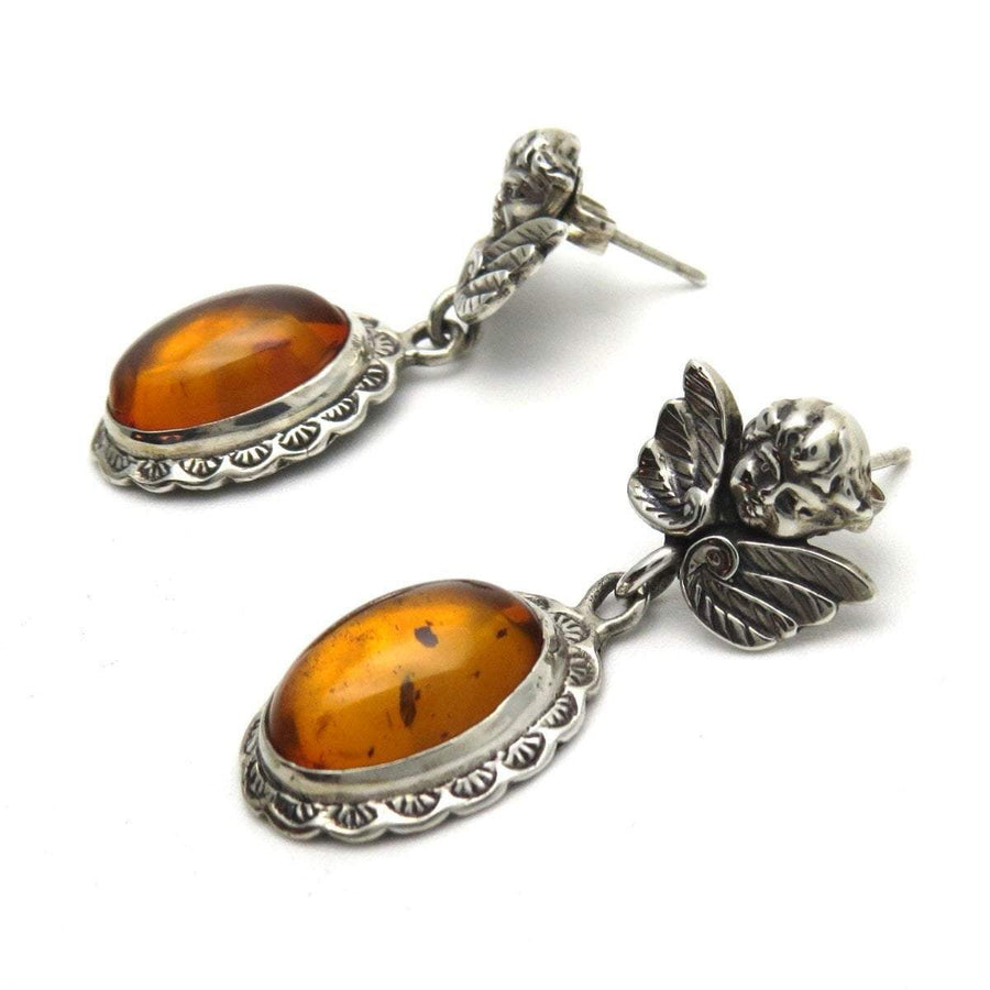 Amber Sterling Baroque Angel Drop Earrings Vintage, 1930s to 1980s