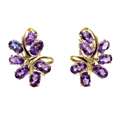 Amethyst Cluster 14k Gold Earrings - Omega Clips Vintage, 1930s to 1980s