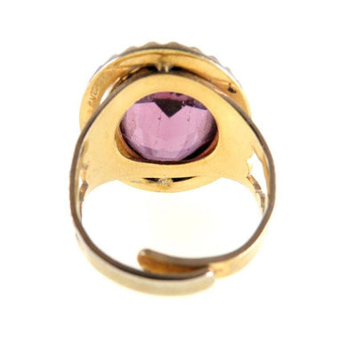 Amethyst Glass Gold Filled Statement Ring Vintage, 1930s to 1980s