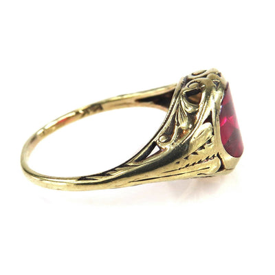 Antique 14k Gold Ruby Signet Ring - 6.25 / Gold/Ruby / 14k Gold/Ruby Edwardian, 1901 to 1920s