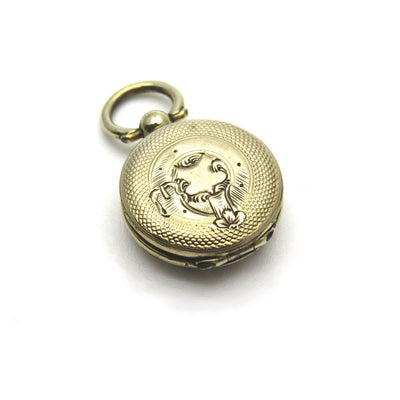Antique 14k Gold Victorian Hair Locket Champleve Enameled Flower Victorian, 1830s to 1900s