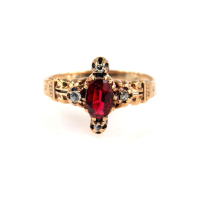 Antique Diamond and Garnet Victorian Gold Ring Victorian, 1830s to 1900s