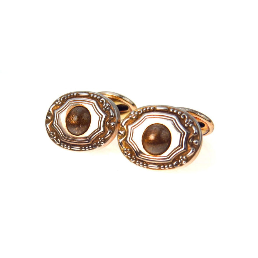 Antique Sunstone Gold Fill Bean Type Cufflinks Edwardian, 1901 to 1920s