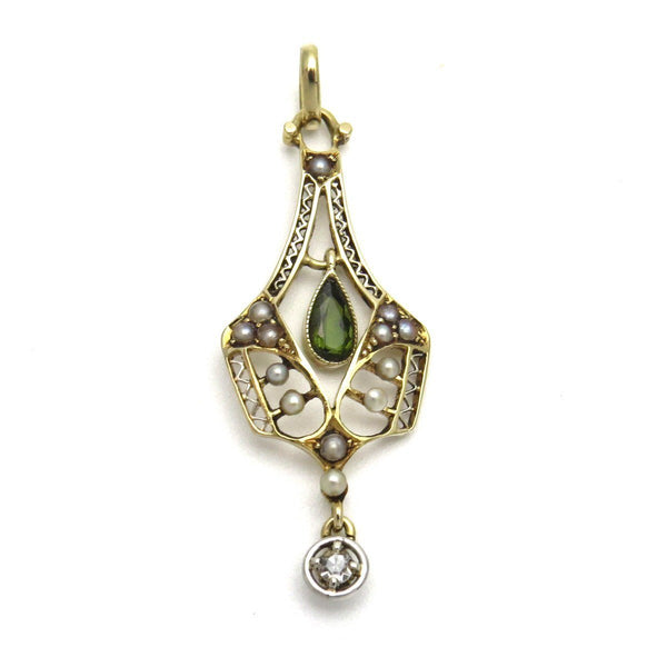 42dee8744 Antique Tourmaline Natural Seed Pearls Diamond Lavalier Pendant