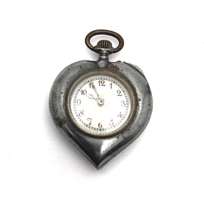 Antique Victorian Heart Shaped Steel Pocket Watch Victorian, 1830s to 1900s