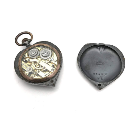 Antique Victorian Heart Shaped Steel Pocket Watch Art Deco, 1920s to 1930s