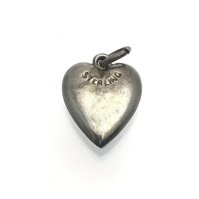 Antique Victorian Puffy Heart Sterling Charm Victorian, 1830s to 1900s