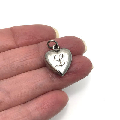Antique Victorian Puffy Heart Sterling Charm Initial L Victorian, 1830s to 1900s