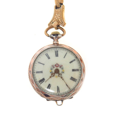 Antique Wrist or Pendant Watch Delicately Hand Enameled Dial Locket Back Art Nouveau, 1895 to 1920s