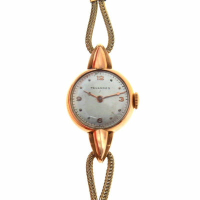 Art Deco 18k Rose Gold Tavannes Ladies Watch Vintage, 1930s to 1980s