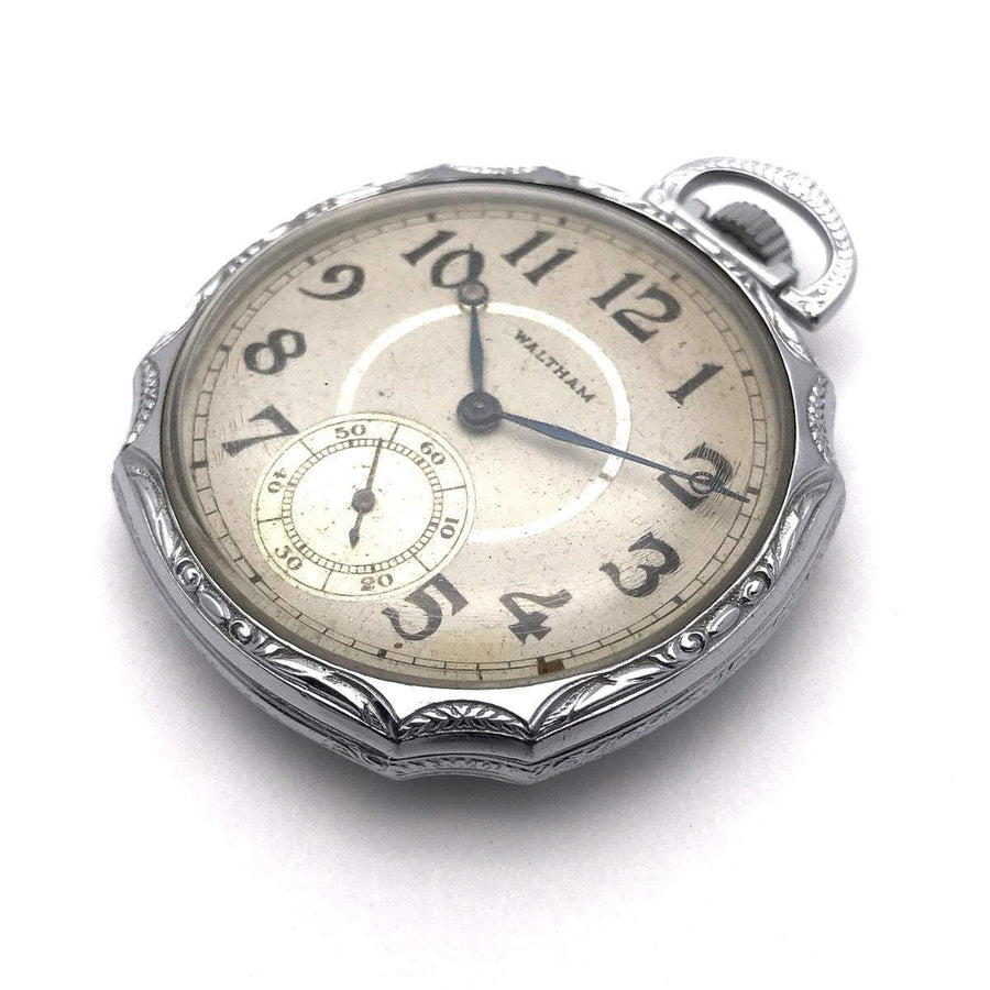 Art Deco 1920s Waltham Pocket Watch Silver Vintage, 1930s to 1980s