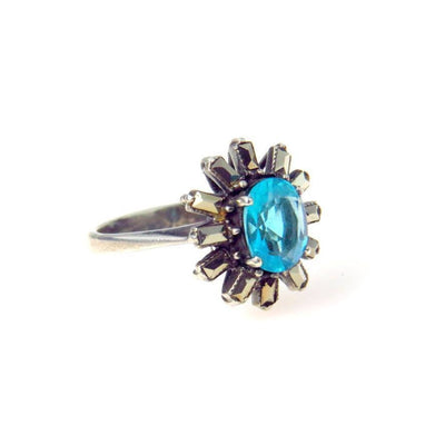 Art Deco Blue Zircon Marcasite Sterling Silver Halo Ring Art Deco, 1920s to 1930s