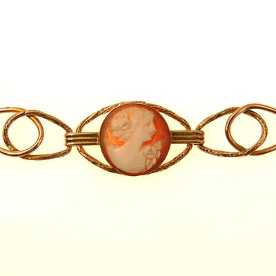 Art Deco Carved Shell Cameo Link Bracelet Art Deco, 1920s to 1930s