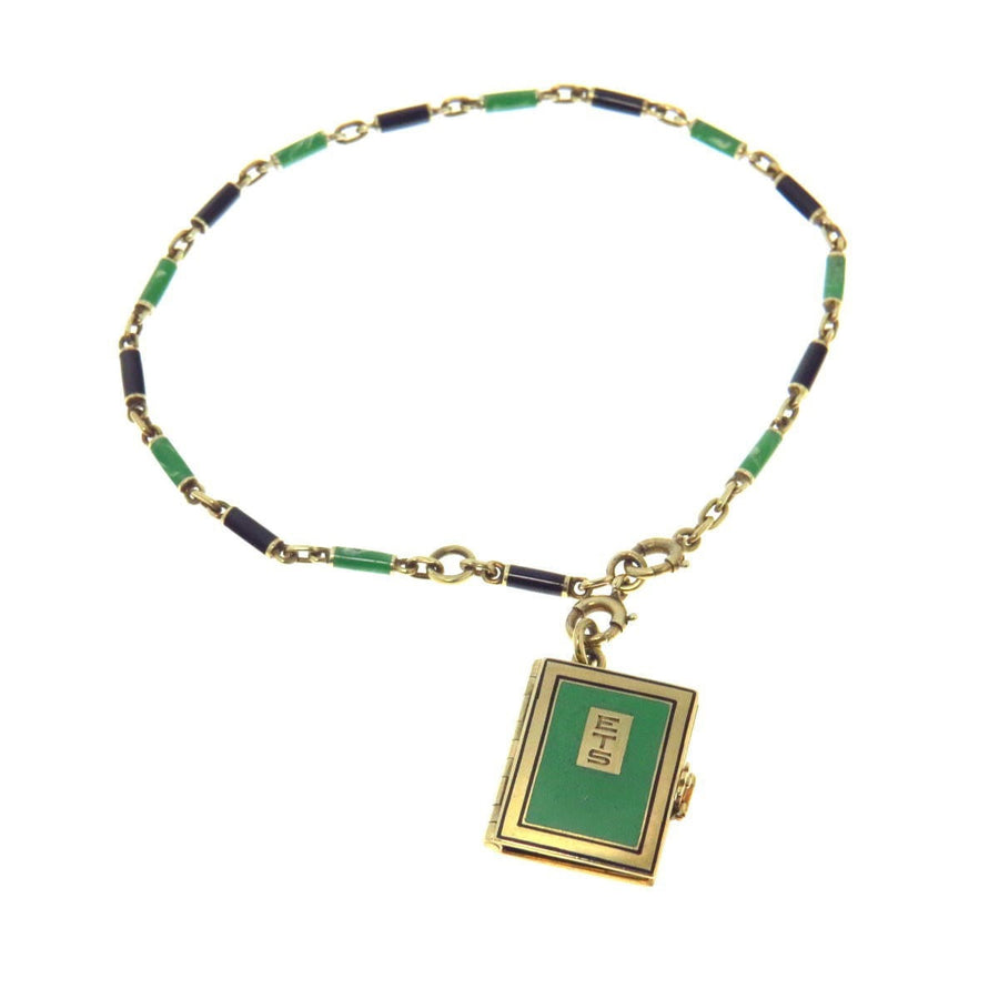 Art Deco Enamel 14k Gold Book Locket Watch Chain Bracelet