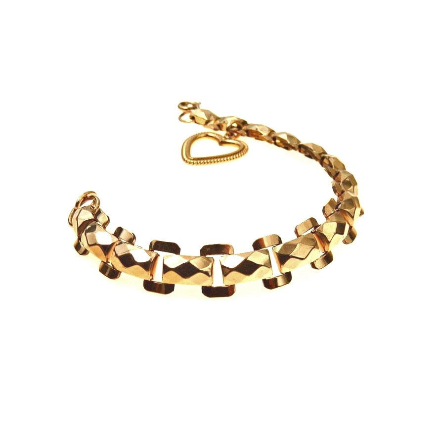 Art Deco Heart Charm Fancy Link Bracelet Gold Filled Art Deco, 1920s to 1930s